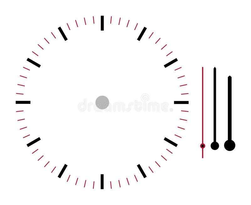 Ejemplo de la cara de reloj con el minuto de la hora y las segundas manos aislados en el fondo blanco con la trayectoria de recor ilustración del vector
