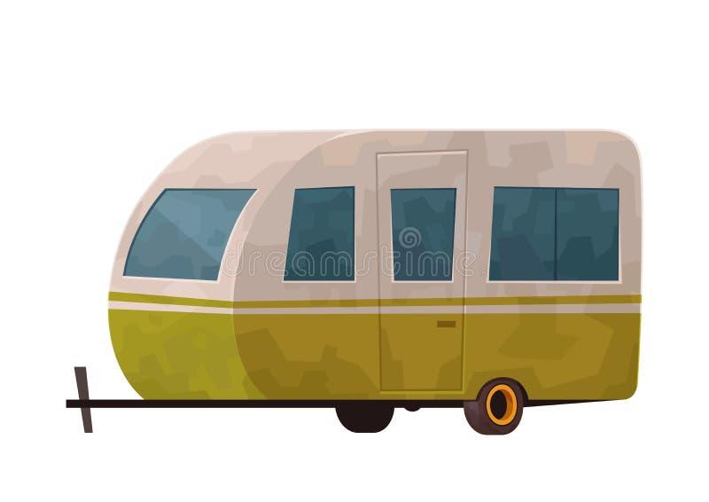 Ejemplo de la caravana del remolque que acampa aislado en el fondo blanco stock de ilustración