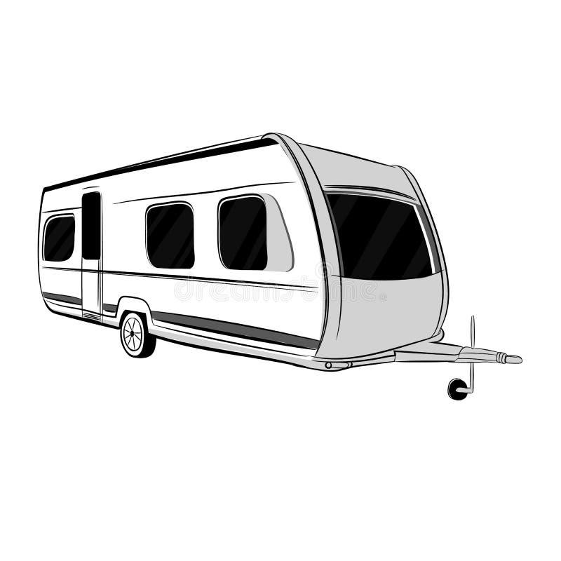 Ejemplo de la caravana moderna, remolque para el viaje, turismo con la familia Objeto aislado libre illustration