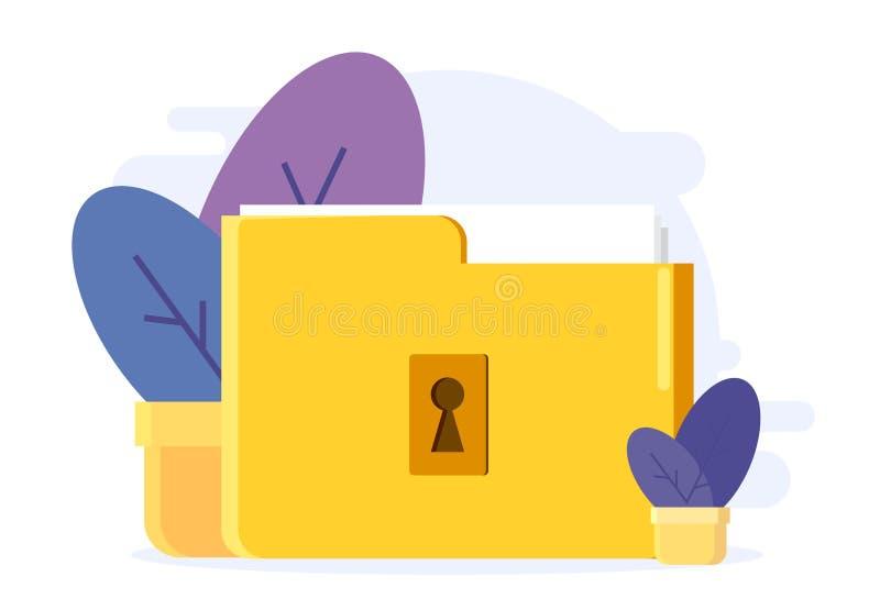 Ejemplo de la carpeta de la cerradura con los ficheros y las flores secretos en el pote Estilo plano Dise?o del ejemplo del vecto libre illustration