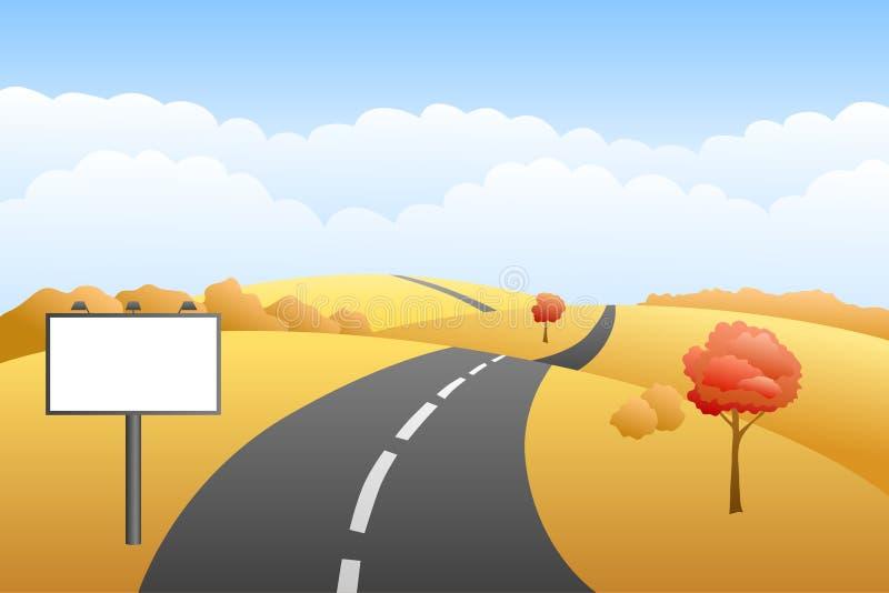 Ejemplo de la cartelera del camino del día del otoño de las colinas del paisaje stock de ilustración