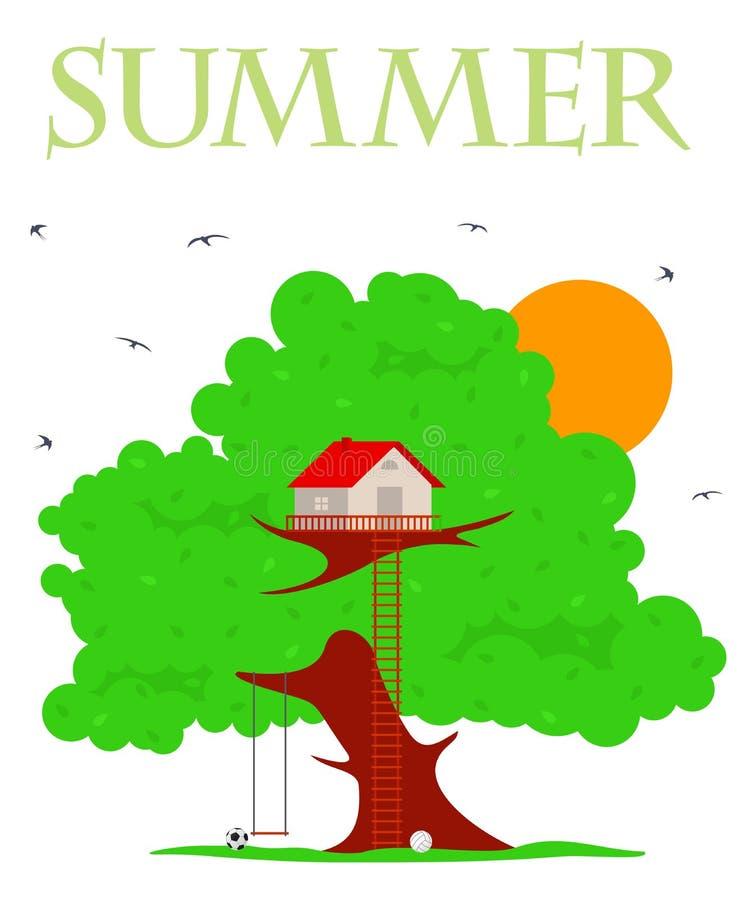 Ejemplo de la casa en el árbol stock de ilustración