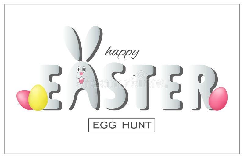Ejemplo de la caza del huevo de Pascua Diseño de la bandera del día de fiesta con los huevos y el conejo ilustración del vector