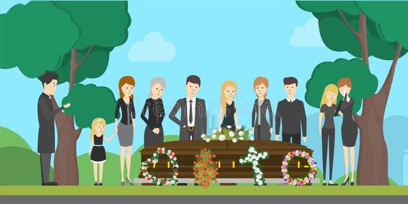 Ejemplo de la ceremonia fúnebre stock de ilustración