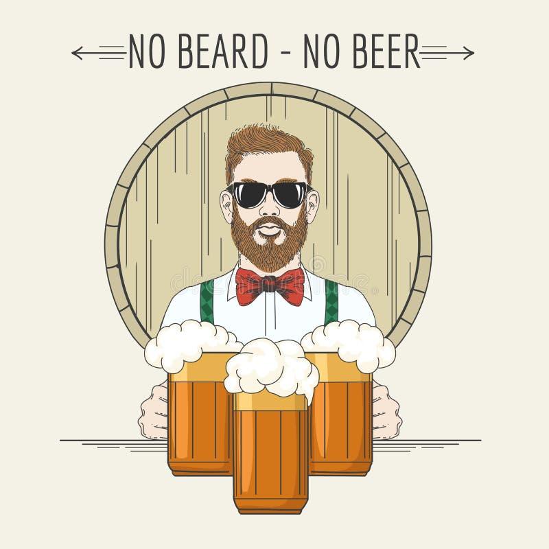 Ejemplo de la cerveza del inconformista con lema ninguna barba ninguna cerveza libre illustration