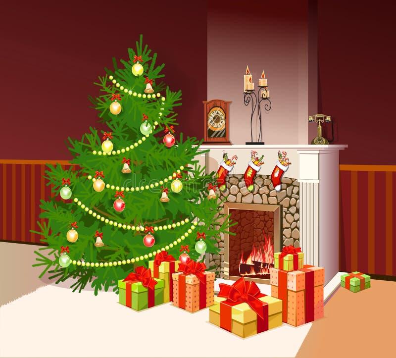 Ejemplo de la chimenea con los regalos stock de ilustración