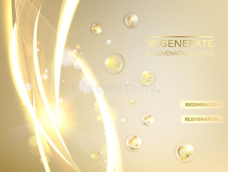 Ejemplo de la ciencia de una molécula poner crema Concepto crema de cara y del complejo regenerados de la vitamina Cosmético y pi stock de ilustración
