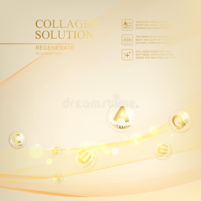 Ejemplo de la ciencia de una molécula poner crema Concepto crema de cara y del complejo regenerados de la vitamina Cosmético y pi libre illustration