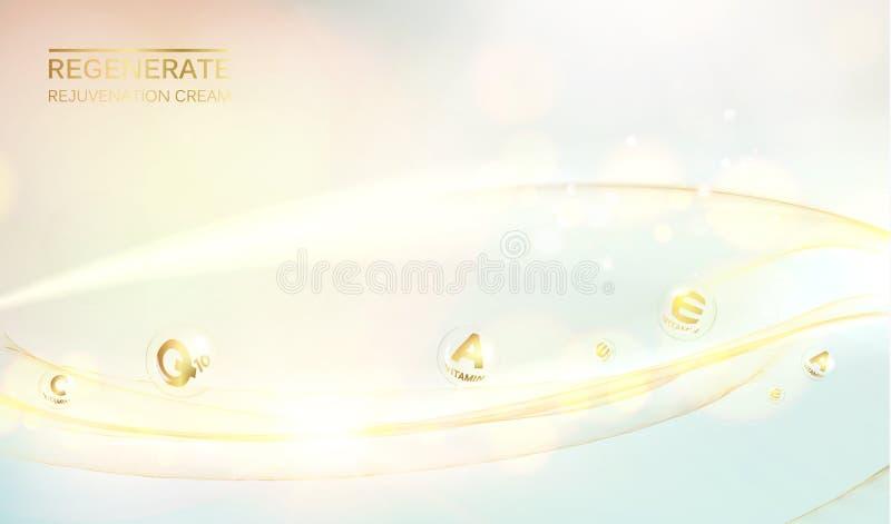 Ejemplo de la ciencia de una molécula poner crema Concepto crema de cara y del complejo regenerados de la vitamina Diseño del cui libre illustration