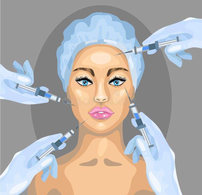 Ejemplo de la cirugía plástica del vector Procedimiento del cosmético de la inyección de Botox libre illustration