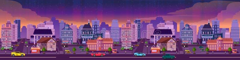 Ejemplo de la ciudad de la noche del vector con el resplandor de neón y los colores vivos stock de ilustración