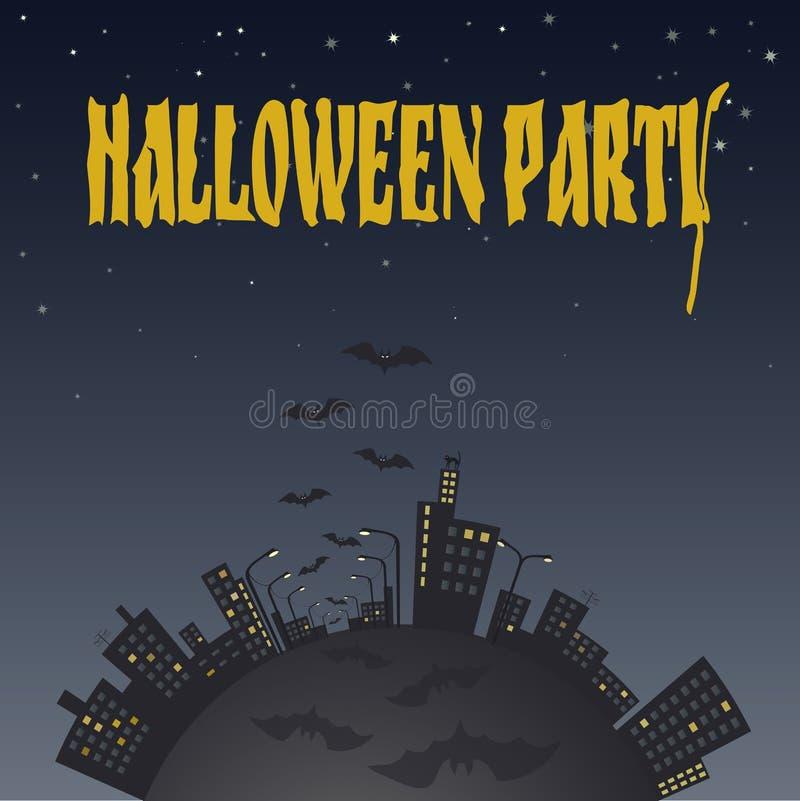 Ejemplo de la ciudad en la noche con los palos Música de la noche libre illustration