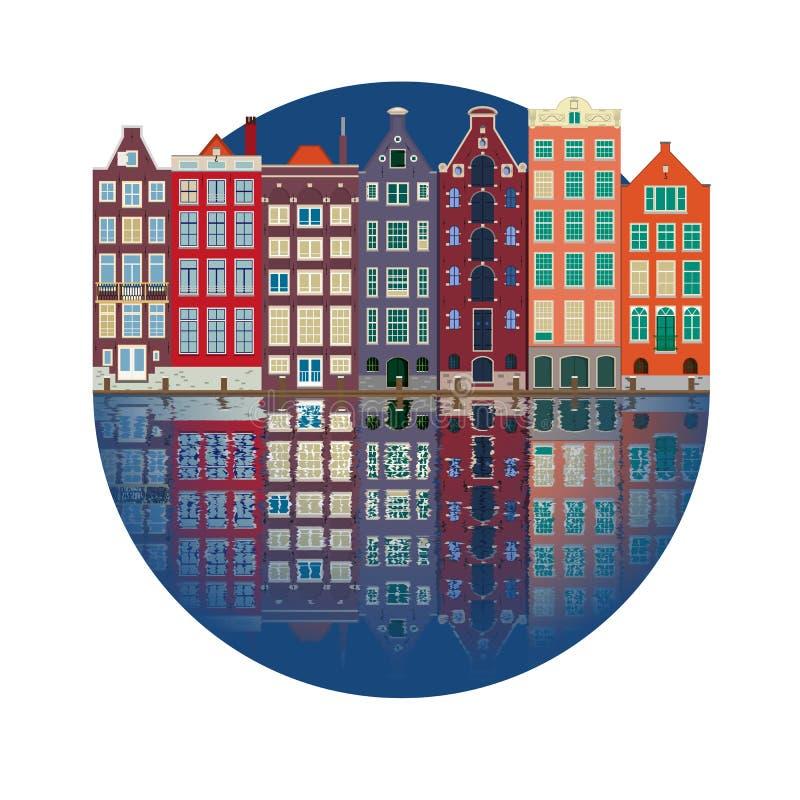 Ejemplo de la ciudad de las casas del canal de Amsterdam stock de ilustración