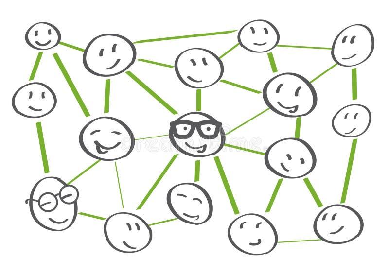 Ejemplo de la colaboración del establecimiento de una red stock de ilustración