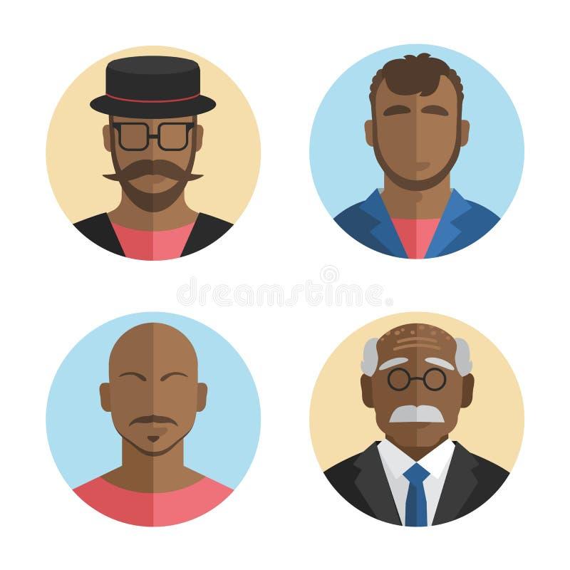 Ejemplo de la colección afroamericana de los iconos de los hombres del diseño plano Vector ilustración del vector