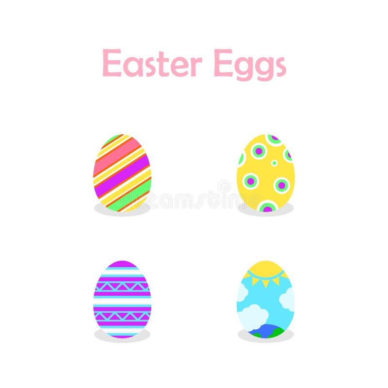 Ejemplo de la colección de los huevos de Pascua para el día de pascua ilustración del vector