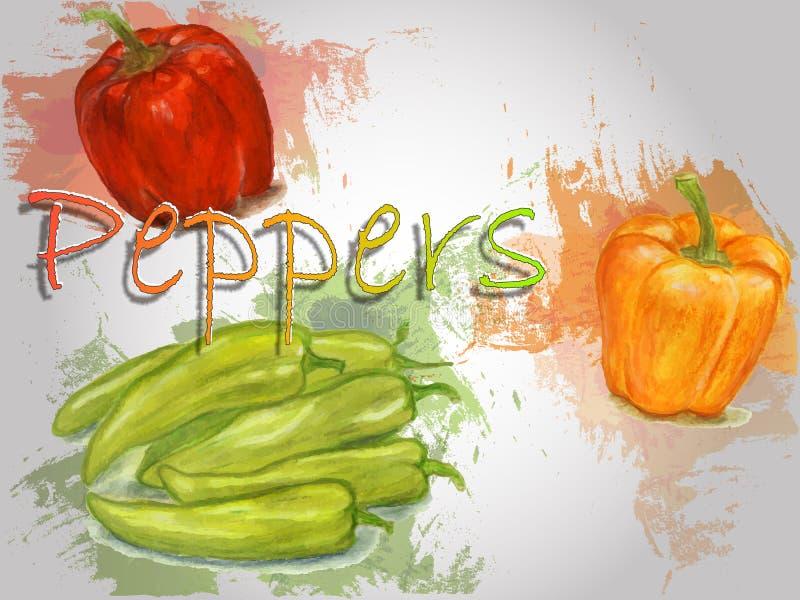 Ejemplo de la comida del vector de la acuarela de la pimienta libre illustration