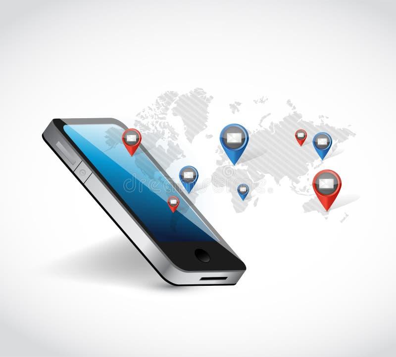 ejemplo de la comunicación de la red del mapa del mundo del teléfono foto de archivo