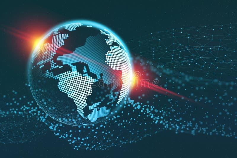 Ejemplo de la comunicación global 3D Campo de información de la tierra del planeta stock de ilustración