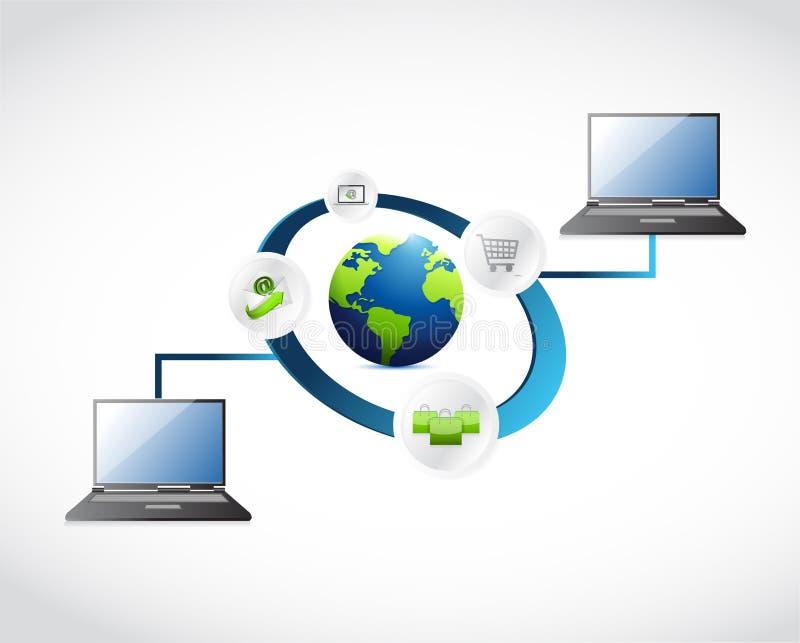 Ejemplo de la conexión de la red de ordenadores stock de ilustración