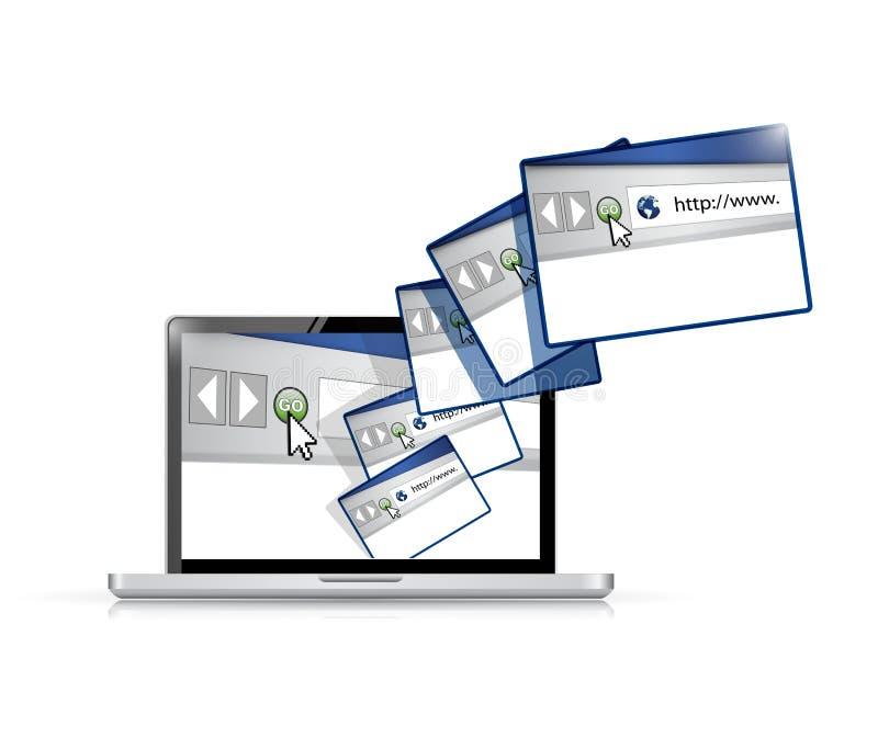 Ejemplo de la conexión de las páginas de internet del ordenador portátil libre illustration