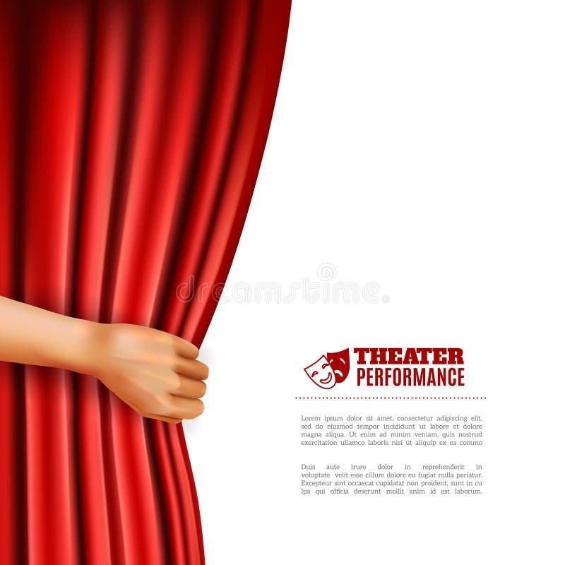 Ejemplo de la cortina del teatro de la abertura de la mano ilustración del vector