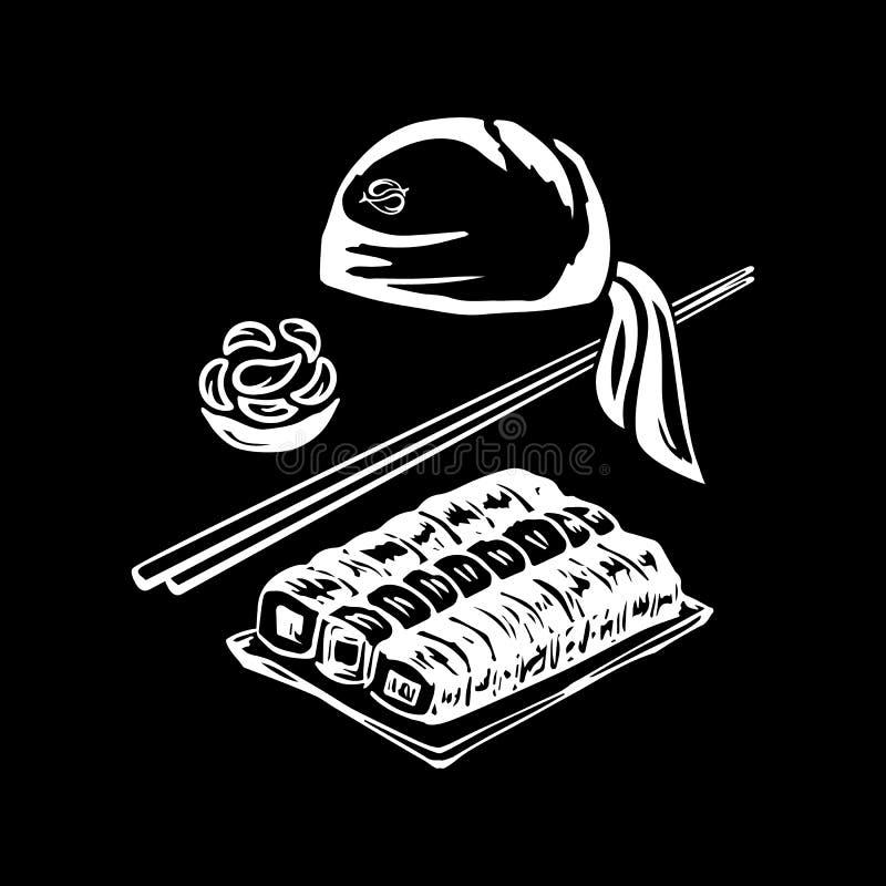 Ejemplo de la designación del plato japonés tradicional del arroz del tocado del cocinero con los mariscos, así como el concepto  ilustración del vector