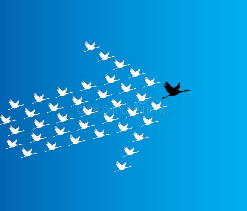 Ejemplo de la dirección y del concepto de la sinergia: Varios cisnes que vuelan contra un cielo azul profundo stock de ilustración