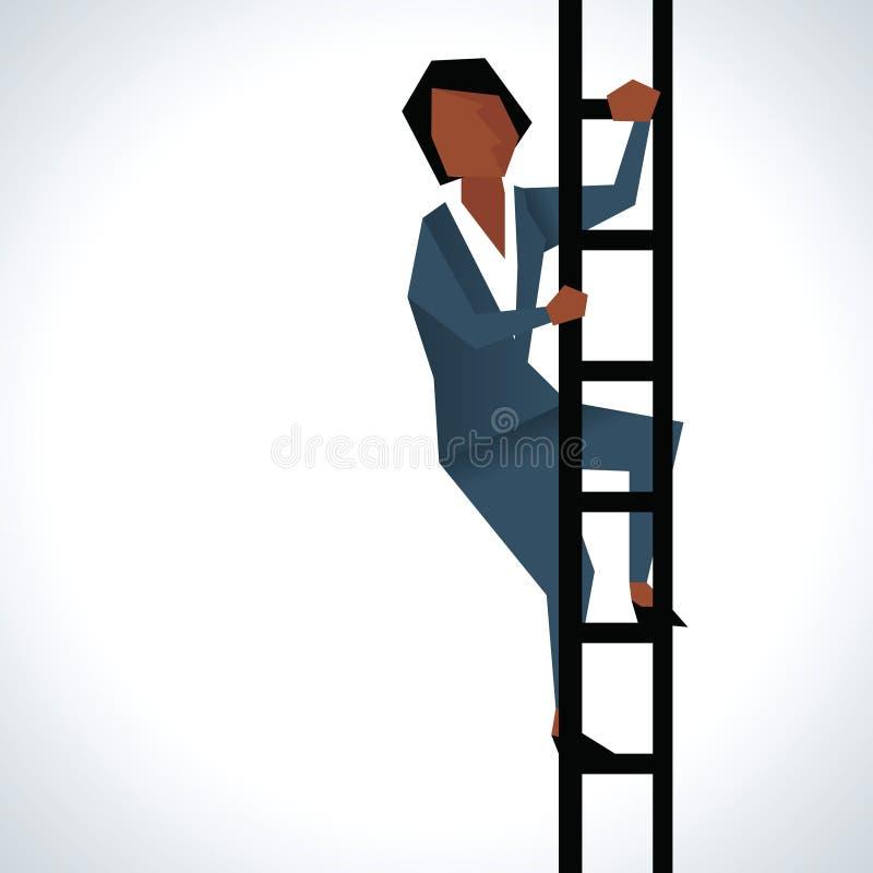 Ejemplo de la empresaria Climbing Ladder stock de ilustración