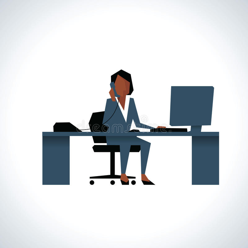 Ejemplo de la empresaria On Phone Sitting en el escritorio encendido ilustración del vector