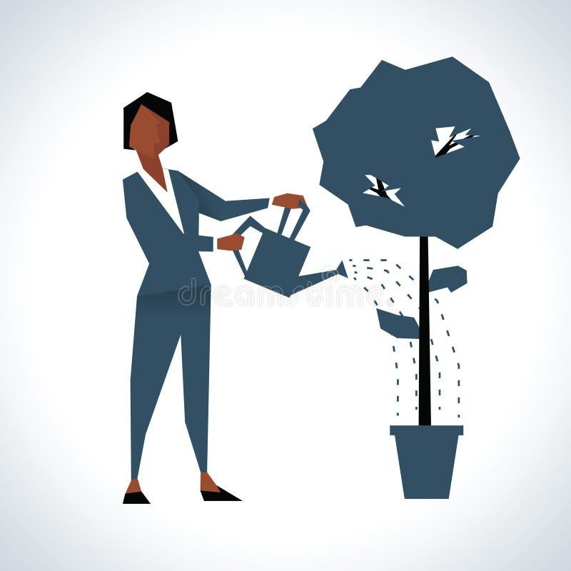 Ejemplo de la empresaria Watering Tree Growing en pote stock de ilustración