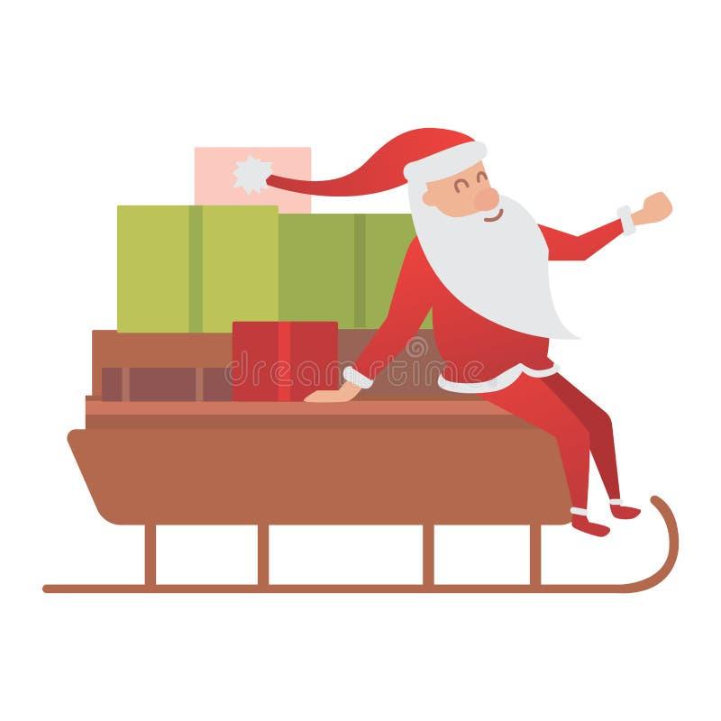 Ejemplo de la entrega del trineo del conductor de Santa Claus stock de ilustración
