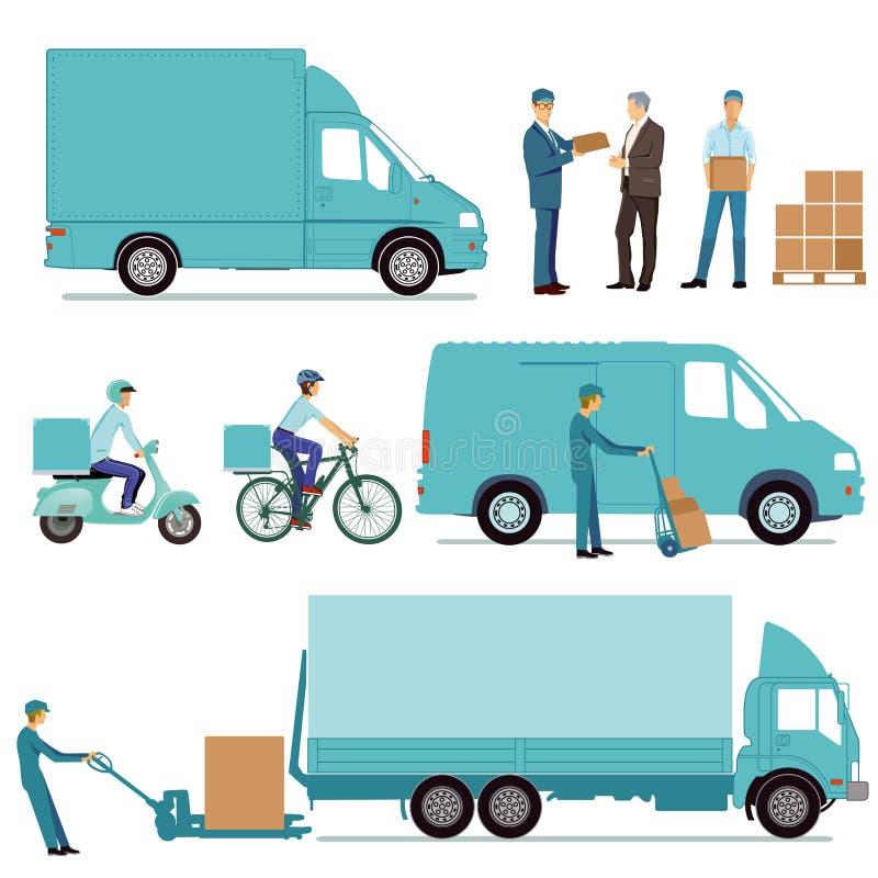 Ejemplo de la entrega y del transporte ilustración del vector