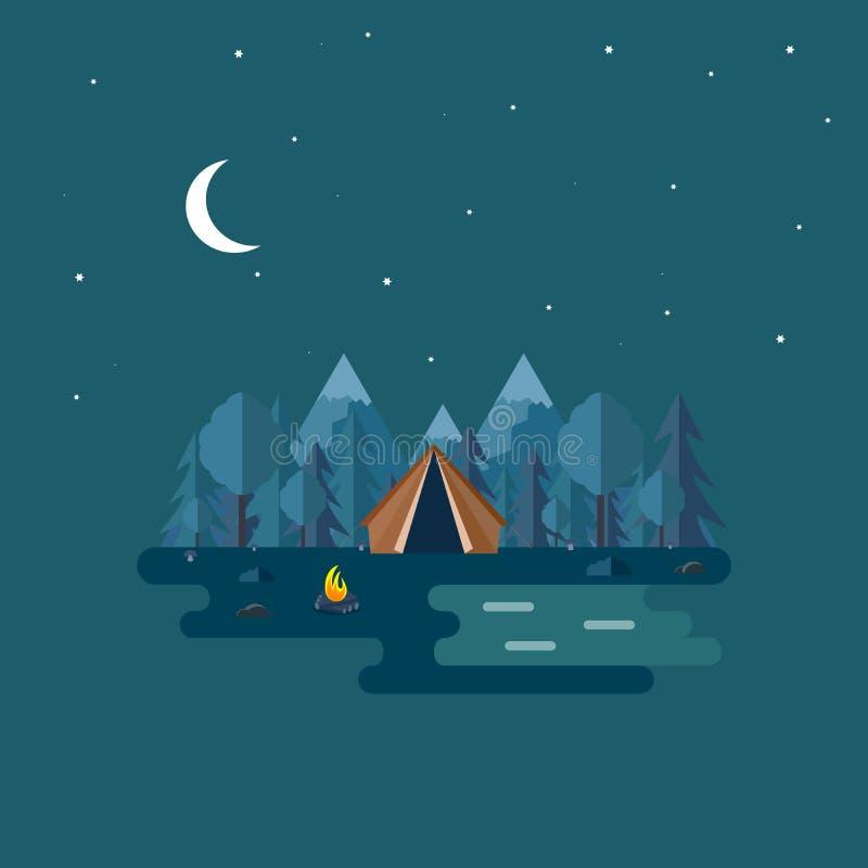 Ejemplo de la escena hermosa del bosque Paisaje de la noche en estilo plano Fondo Tienda, setas, árboles, piedras, hoguera, sopor libre illustration