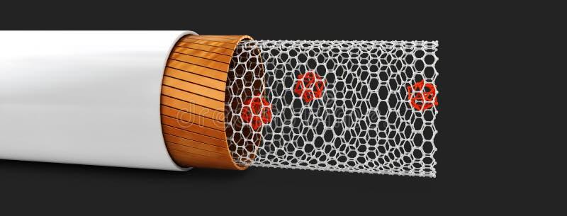 Ejemplo de la estructura del nanotube del carbono dentro de la visión libre illustration