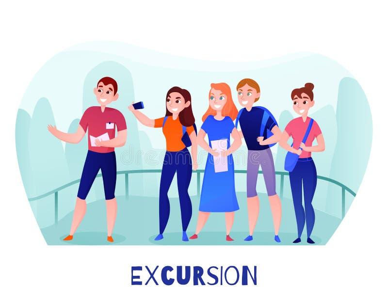 Ejemplo de la excursión de los viajeros ilustración del vector