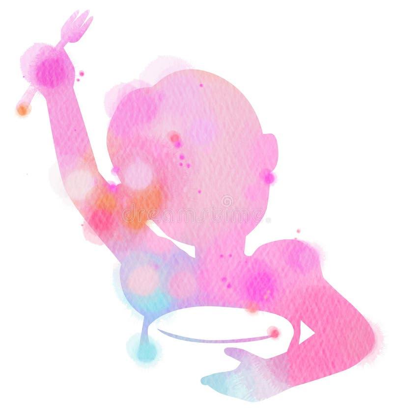 Ejemplo de la exposición doble Niña que come algo silho ilustración del vector