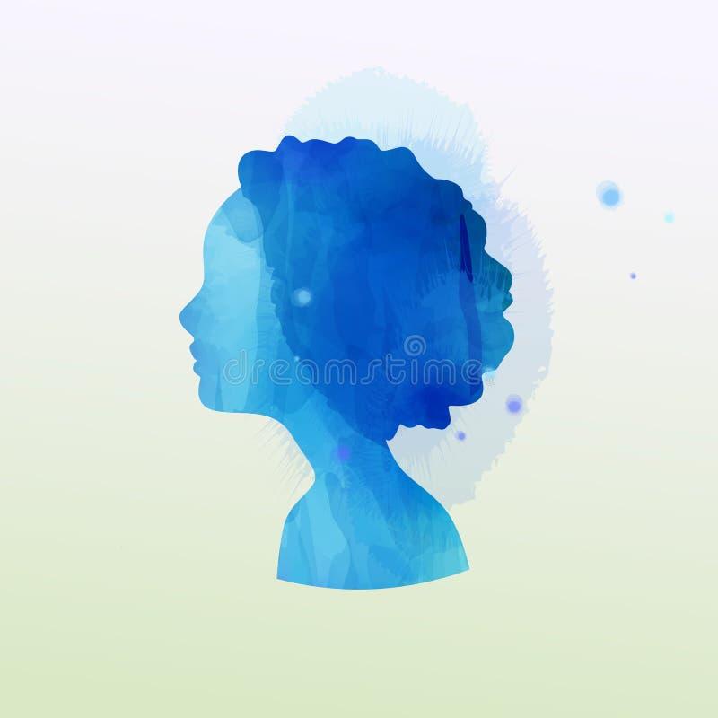 Ejemplo de la exposición doble La silueta de la muchacha más color de agua abstracto pintó Pintura del arte de Digitaces ilustración del vector