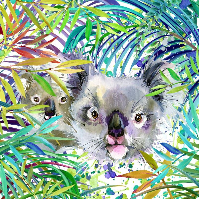 Ejemplo de la familia de la koala bosque exótico fTropical, koala, hojas verdes, fauna, ejemplo de la acuarela stock de ilustración