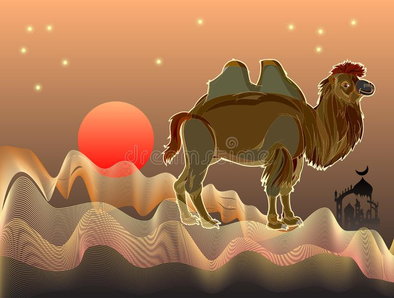 Ejemplo de la fantasía del camello bactriano lindo en desierto con las ondas de arena Cubierta para el libro del hada-cuento ilustración del vector