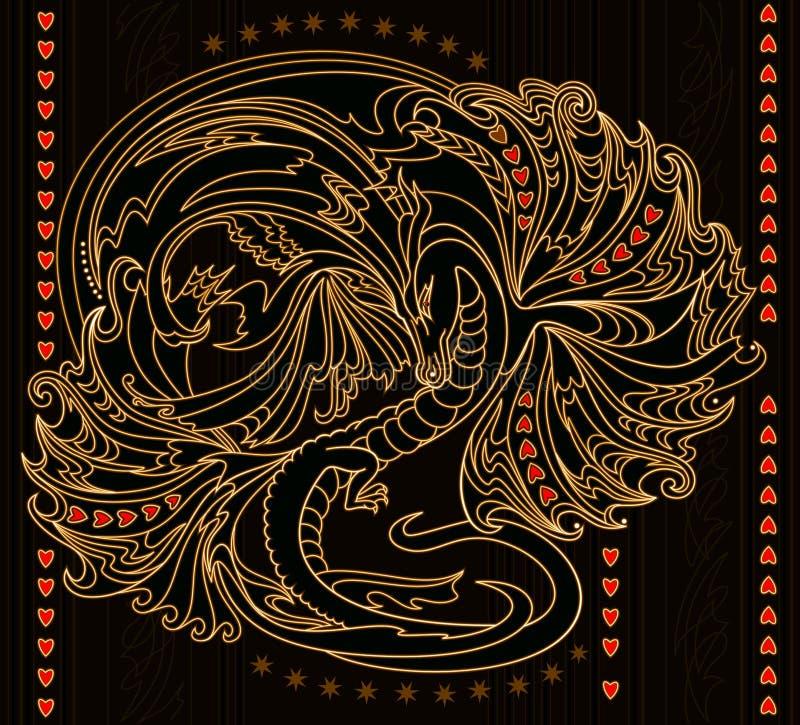 Ejemplo de la fantasía del dragón japonés antiguo Fondo estilizado abstracto con la decoración del este Impresi?n moderna libre illustration