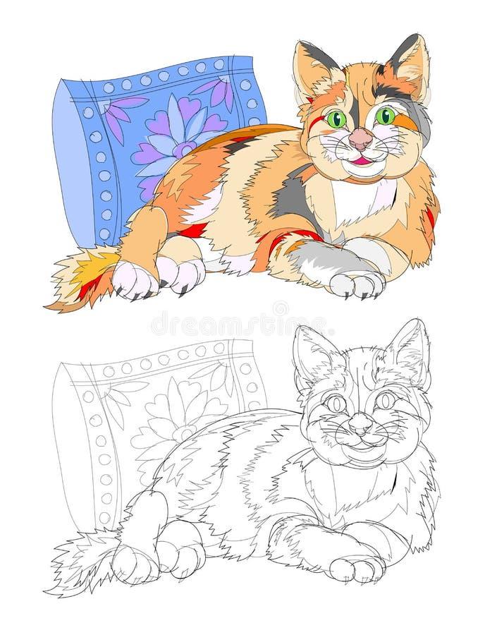 Ejemplo de la fantasía del gato lindo que miente cerca de la almohada Página colorida y blanco y negro para el libro de colorear libre illustration