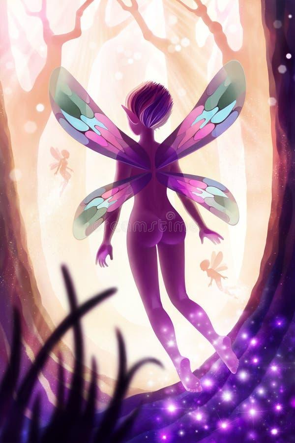 Ejemplo de la fantasía de Digitaces del bosque de hadas mágico stock de ilustración