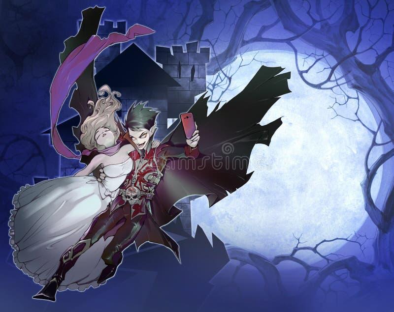 Ejemplo de la fantasía de Digitaces de un vampiro hermoso y de una muchacha hermosa stock de ilustración