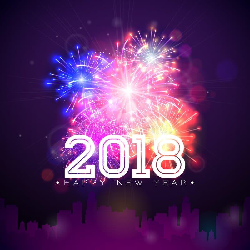 Ejemplo de la Feliz Año Nuevo 2018 con el fuego artificial y número blanco en fondo azul brillante Diseño del día de fiesta del v ilustración del vector