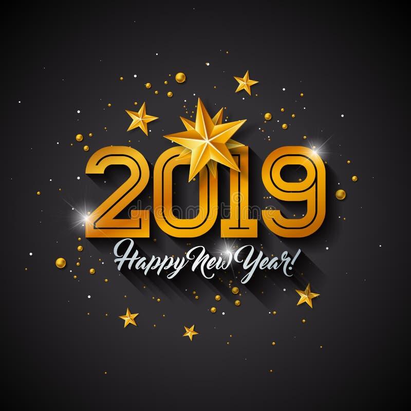 Ejemplo 2019 de la Feliz Año Nuevo con la letra de la tipografía, la estrella del papel del recorte del oro y la bola ornamental  libre illustration