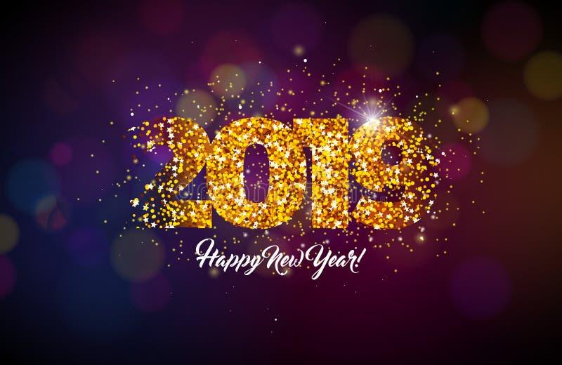 Ejemplo de la Feliz Año Nuevo 2019 con número brillante en fondo oscuro Diseño del día de fiesta para el aviador, tarjeta de feli ilustración del vector