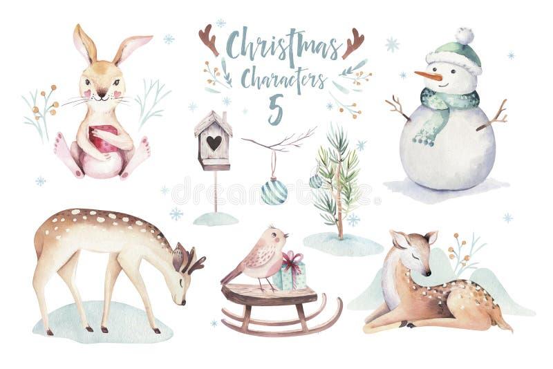 Ejemplo de la Feliz Navidad de la acuarela con el muñeco de nieve, animales lindos ciervos, conejo del día de fiesta Tarjetas de  ilustración del vector