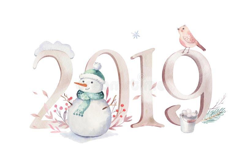 Ejemplo de la Feliz Navidad de la acuarela con el muñeco de nieve, animales lindos ciervos, conejo del día de fiesta Tarjetas de  stock de ilustración