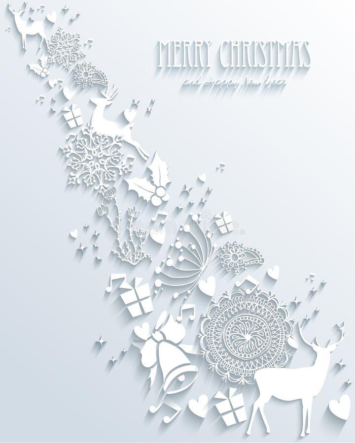 Ejemplo de la Feliz Navidad 3D ilustración del vector